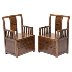 Pair of 19th Century Chinese Merchant Armchairs with Burlwood Inlay