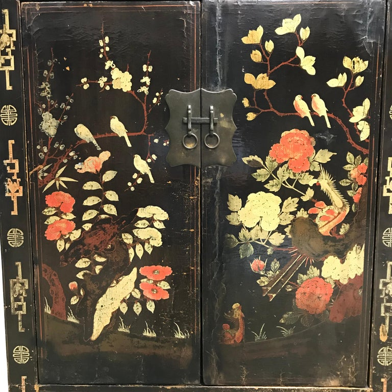 Elm Pair of 19th Century Chinese Painted Cabinets For Sale