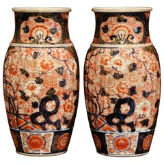 Pair of 19th Century Japanese Porcelain Imari Vases with Floral Decor