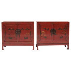Pair of 19th Century Chinese Qing Dynasty Style Cabinets, Original Decorations