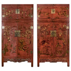 Pair of 19th Century Chinese Red Gilt Lacquered Cabinets/Bookcases
