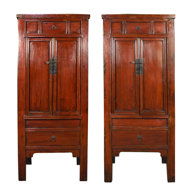 Pair of 19th Century Chinese Red Lacquer Cabinets