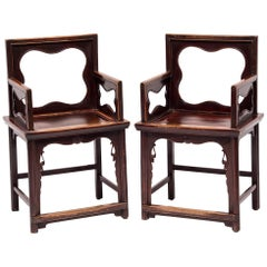 Pair of 19th Century Chinese Rose Chairs