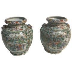 Pair of 19th Century Chinese Rose Medallion Vases from Gracie