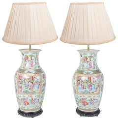 Pair of 19th Century Chinese Rose Medallion Vases or Lamps