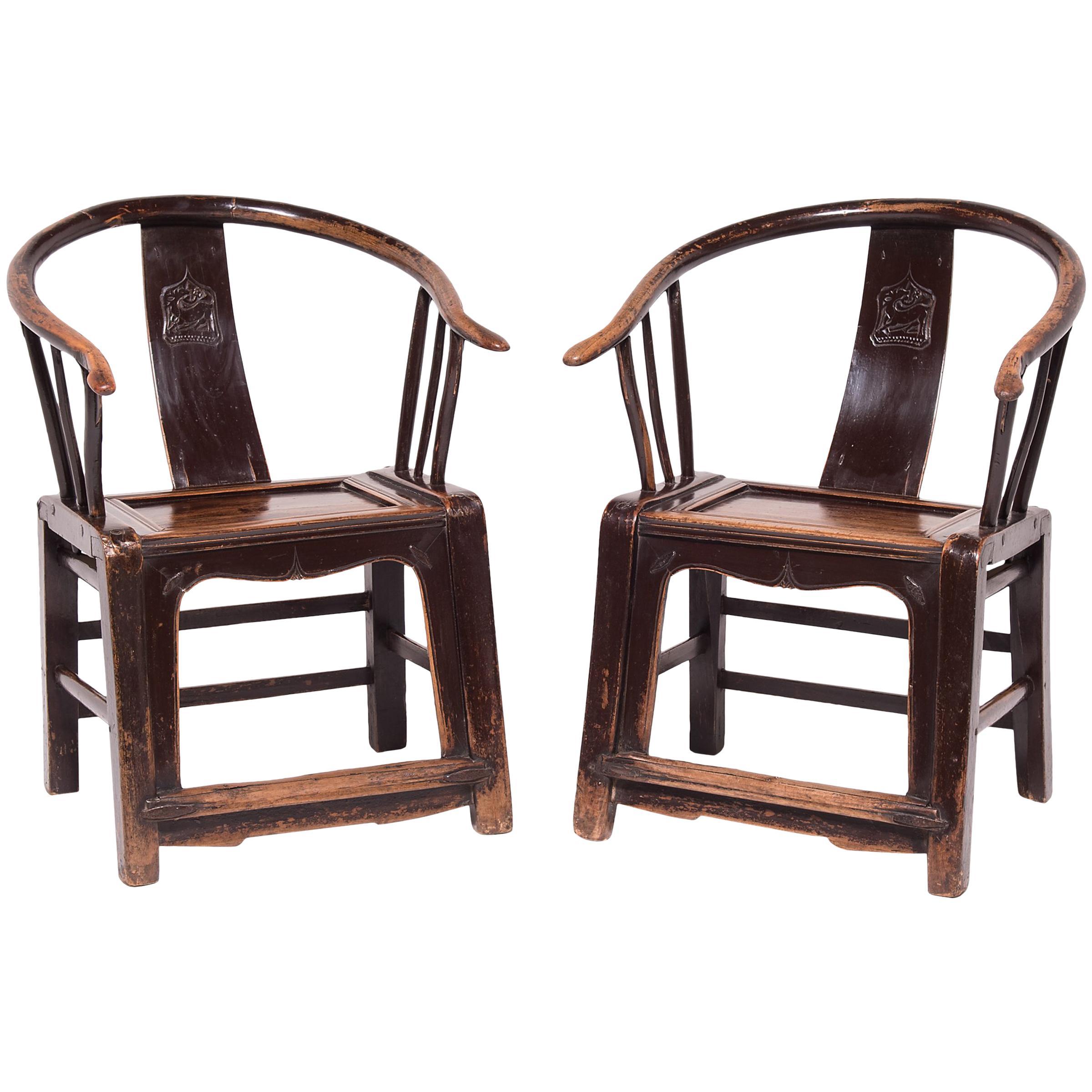 Pair of 19th Century Chinese Roundback Chairs