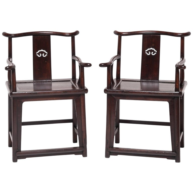 Pair of 19th Century Chinese Ruyi Official's Chairs For Sale