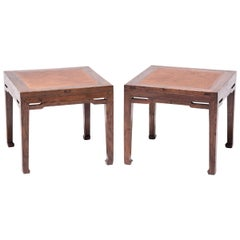 Pair of 19th Century Chinese Square Stools with Woven Tops