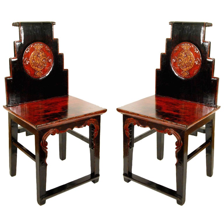 Pair of 19th Century Chinese Stepped-Back Chairs