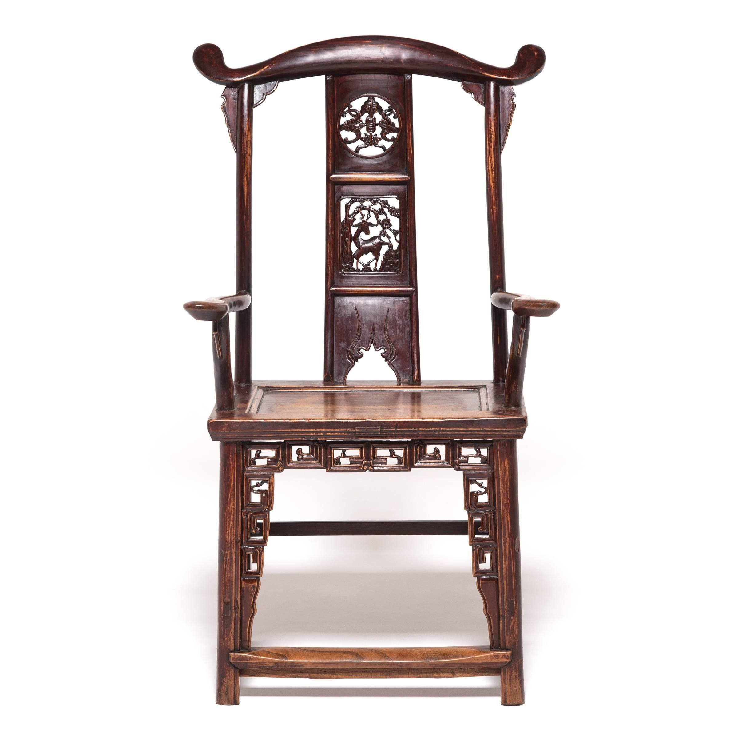 Pair Of 19th Century Chinese Tall Back Chairs With Auspicious Deer  Medallions
