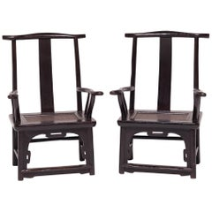 Pair of 19th Century Chinese Tall Back Porch Chairs