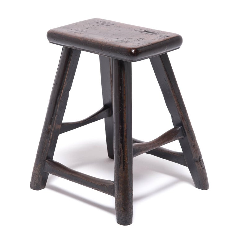 Qing Pair of 19th Century Chinese Tapered Four Leg Stools For Sale