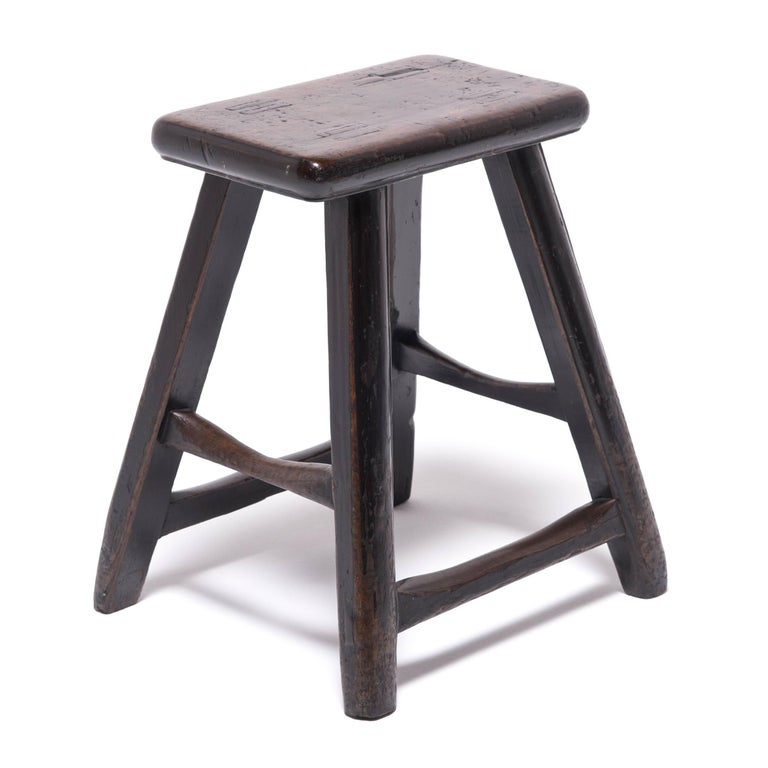 Elm Pair of 19th Century Chinese Tapered Four Leg Stools For Sale