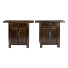 Pair of 19th Century Chinese Two-Door Chestnut Cabinets