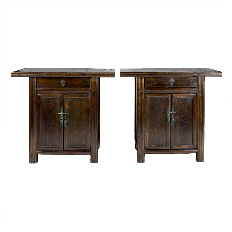 Pair of 19th Century Chinese Two-Door Chestnut Cabinets For Sale