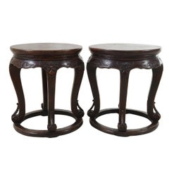 Pair of 19th Century Chinese Walnut Round Plank Top Shizi Tables