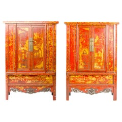 Pair of 19th Century Chinese Wardrobe, Chinoiserie Lacquered Red