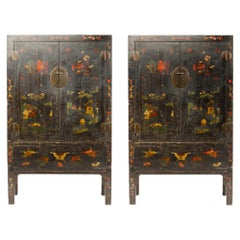Pair of 19th Century Chinese Wardrobe Chinoiseries Lacquered