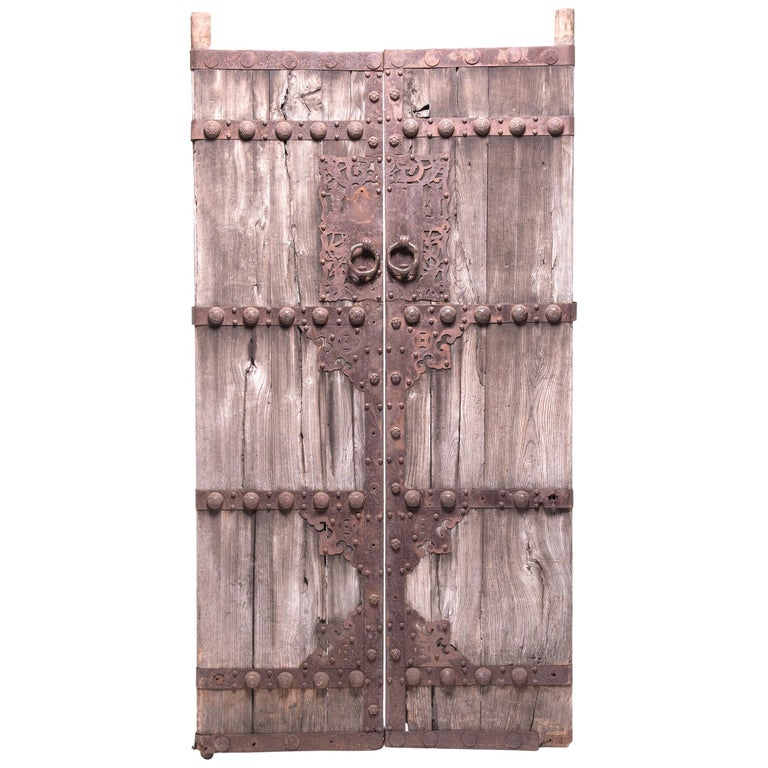 Pair of 19th Century Chinese Weathered Courtyard Doors For Sale