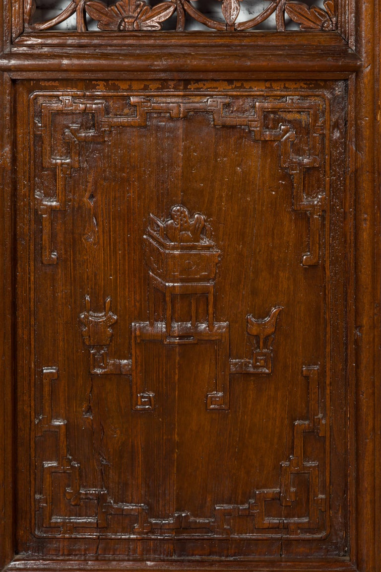 Pair of 19th Century Chinese Wooden Panels with Floral Motifs and Carved Objects For Sale 5