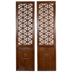 Pair of 19th Century Chinese Wooden Panels with Floral Motifs and Carved Objects