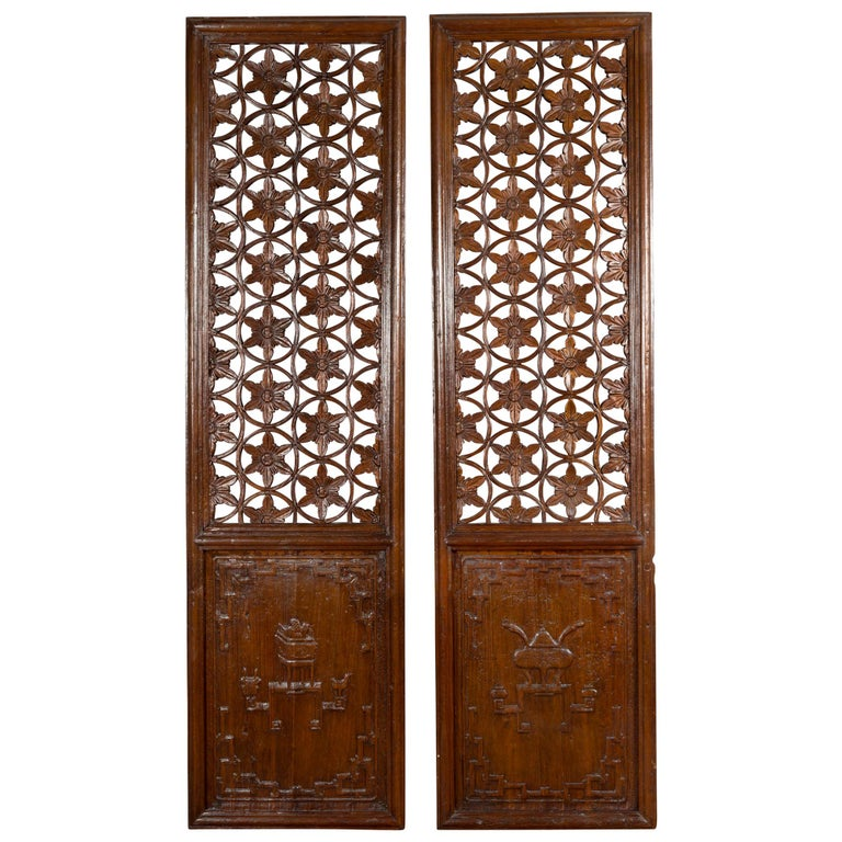 Pair of 19th Century Chinese Wooden Panels with Floral Motifs and Carved Objects For Sale