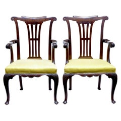 Pair of 19th Century Chippendale Influenced Mahogany Armchairs