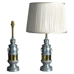 Pair of 19th Century Chrome and Brass Lamps