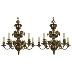 Pair of 19th Century Classic Dutch Baroque Style Brass Six-Light Chandeliers
