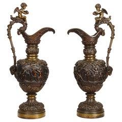 Pair of 19th Century Classical Bronze Ewers