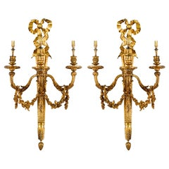Pair of 19th Century Classical Louis XVI Style Ormolu Wall Lights