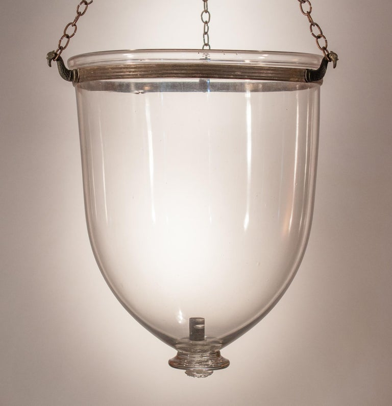 Pair of Antique Clear Glass Bell Jar Lanterns For Sale 6