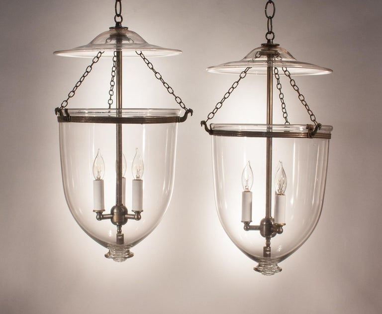 High Victorian Pair of Antique Clear Glass Bell Jar Lanterns For Sale