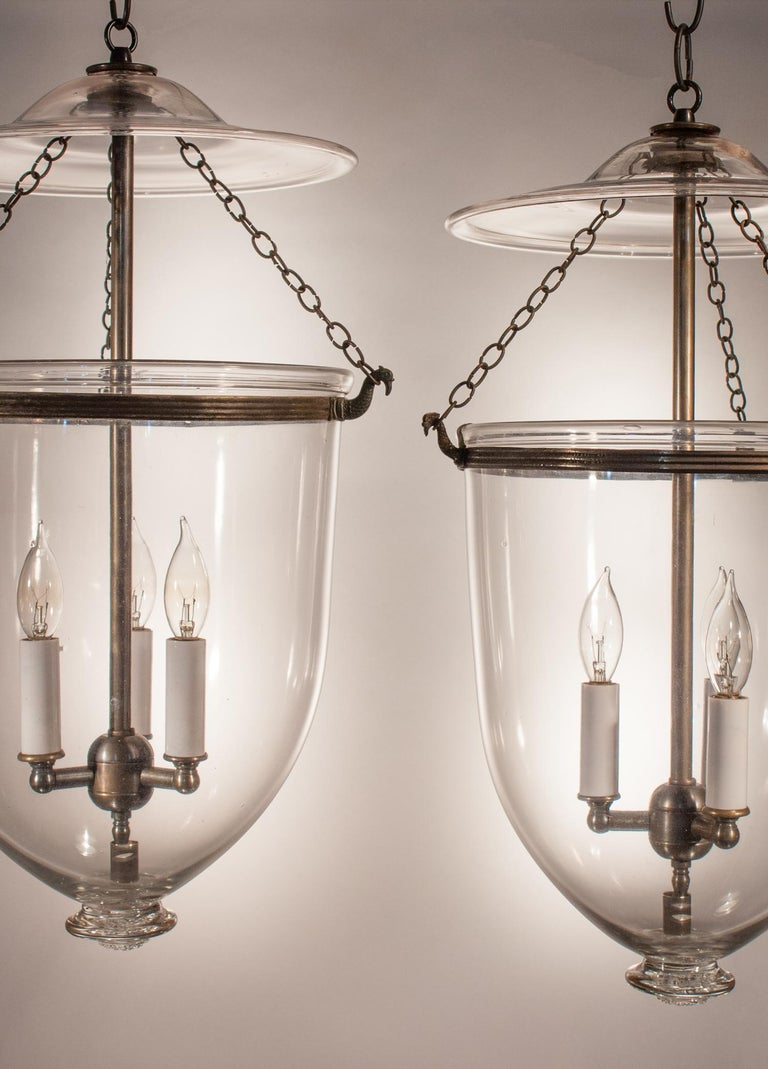 Pair of Antique Clear Glass Bell Jar Lanterns In Good Condition For Sale In Shelburne Falls, MA