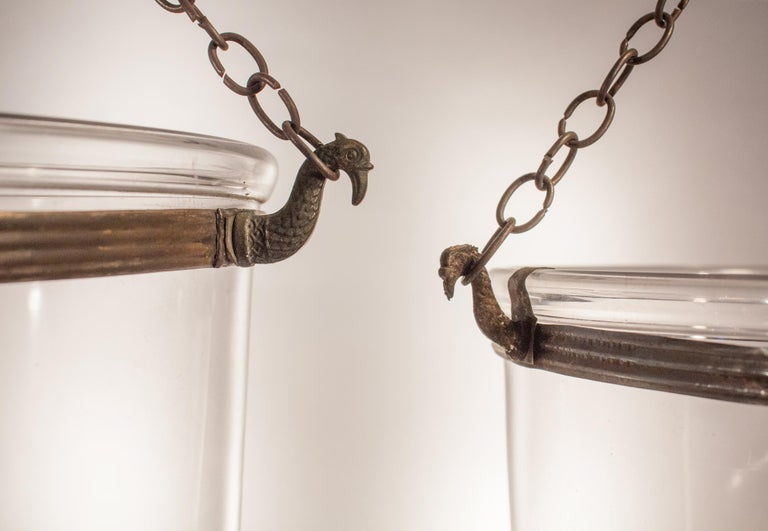 Brass Pair of Antique Clear Glass Bell Jar Lanterns For Sale