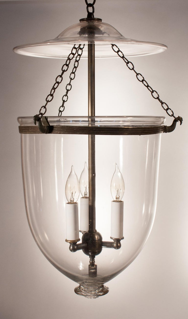 Pair of Antique Clear Glass Bell Jar Lanterns For Sale 1