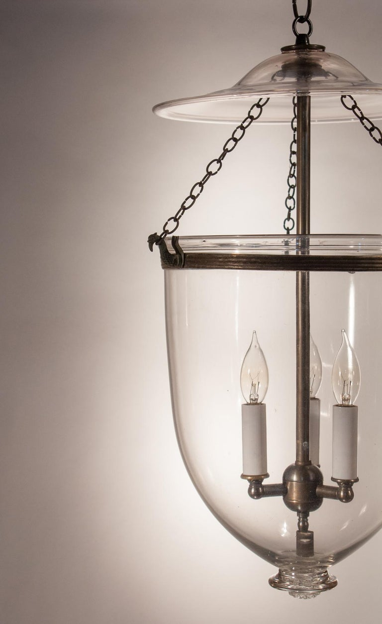Pair of Antique Clear Glass Bell Jar Lanterns For Sale 2