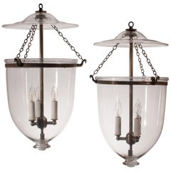 Pair of Antique Clear Glass Bell Jar Lanterns