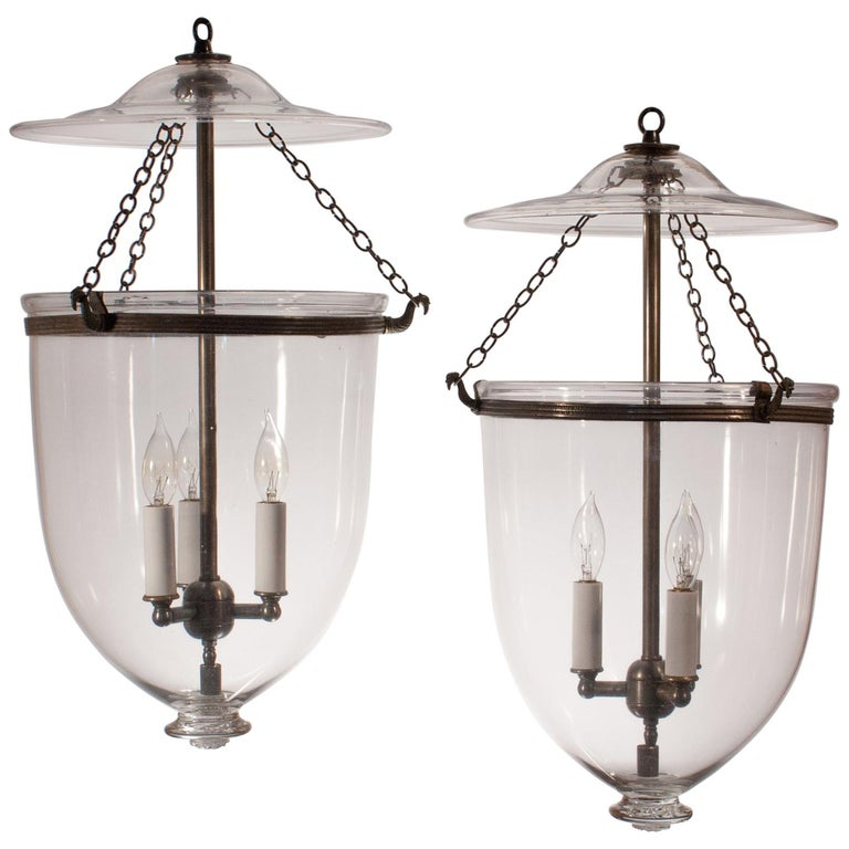 Pair of Antique Clear Glass Bell Jar Lanterns For Sale