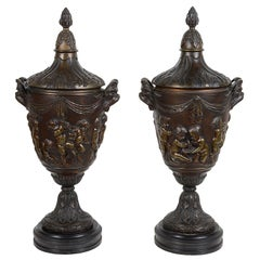 Pair of 19th Century Clodian Style Bronze Lidded Urns