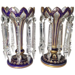 Pair of 19th Century Cobalt and Clear Crystal Candle Lusters