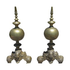 Pair of 19th Century Continental Brass Andirons