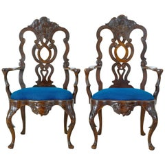 Pair of 19th Century Continental Carved Walnut Armchairs