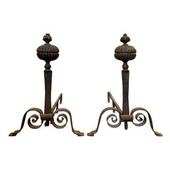 Pair of 19th Century Continental Hand Forged Bronze and Iron Andirons