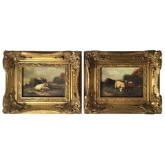Pair of 19th Century Continental Oil Paintings of Sheep