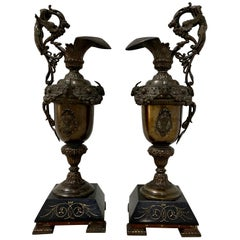 Pair of 19th Century Copper Plate Spelter Ewers