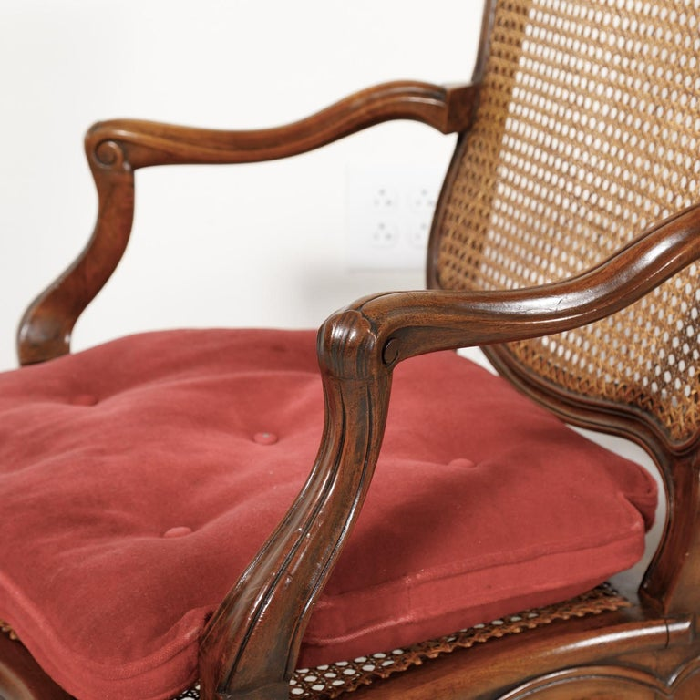 Pair of 19th Century Country French Louis XV Style Walnut and Cane Armchairs For Sale 6