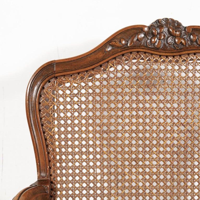Pair of 19th Century Country French Louis XV Style Walnut and Cane Armchairs For Sale 7