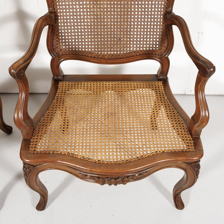 Pair of 19th Century Country French Louis XV Style Walnut and Cane Armchairs For Sale 10