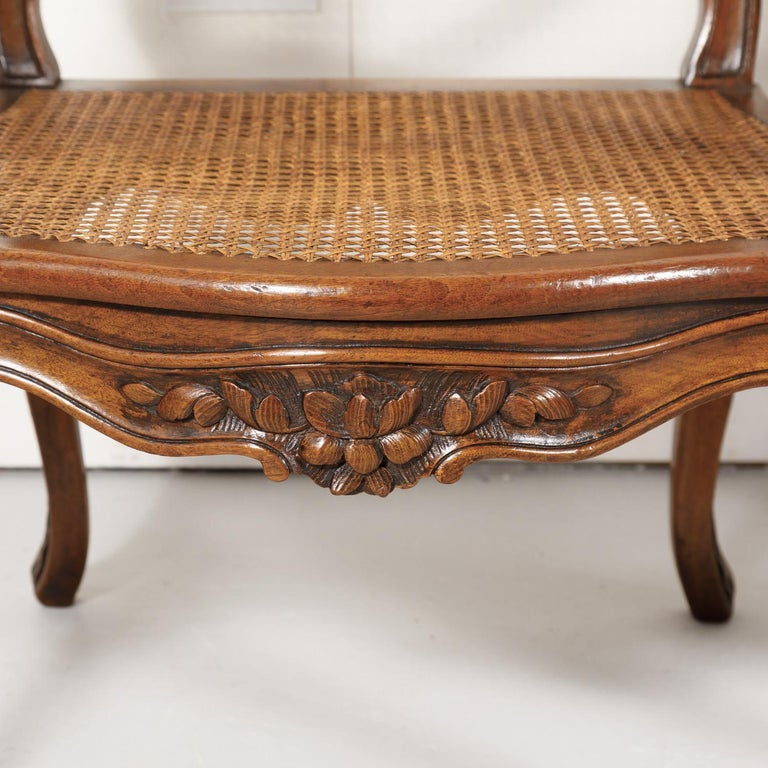 Pair of 19th Century Country French Louis XV Style Walnut and Cane Armchairs For Sale 11